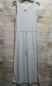 Faded glory gray and white striped maxi dress